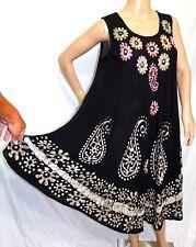 Shoreline Women Plus Size 2x Black Pink Floral Paisley Semi Sheer Summer Dress