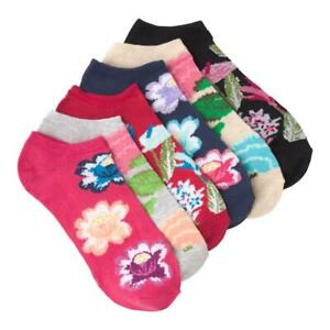 K.Bell Bright Botanical Floral pattern No Show Set of 6 Pack Ladies Socks New