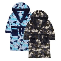 Boys Dinosaur Camo Fleece Dressing Gown / Robe ~ 7-13 Years