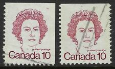 Scott 593Acxi 10c QEII Caricature booklet single with Repeating 10's + normal VF
