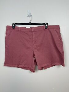 STYLE & CO Mid Rise Fringed Hem Shorts sz 24W Pink-Red NWT $52.50