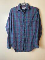 Vintage Sears The Mens Store Green Purple Plaid Flannel Shirt Mens M