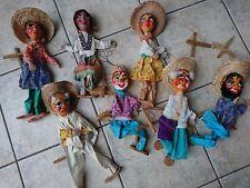 Colección vieja mano muñeca méxico españa 7 títeres grupo marionettenfiguren