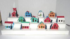 12 Vtg Putz Christmas Houses Village Church Light Covers Ornaments Mica Unused