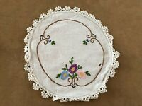 "Vintage round doily embroidered circle 10"" table handmade floral flowers"