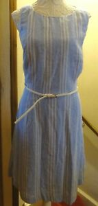 BLUE/WHITE STRIPE SLEEVELESS LINEN MIX LINED DRESS+BELT SZ 16 ? 18 NWOT**REDUCED