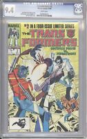 Marvel Comics TRANSFORMERS #2 CGC 9.4 NM (1984) White Pages