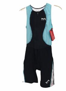NWT TYR Women's TTSCOF6A Lightweight Competitor Trisuit Black Blue Large