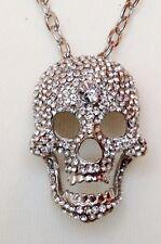 Small Argento Teschio Collana/Trasparente Cristalli/Dichiarazione pendente catena Goth Punk