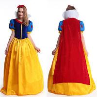 Deluxe Snow White Costume Disney Fairytale Princess Long Fancy Dress Halloween