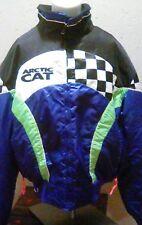 rare ARCTIC CAT 1990's women's sz L snowmobile satin jacket w/ liner, USA, EUC
