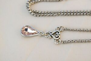 Altered Brighton Silver Heart & Pink Teardrop Crystal Pendent Necklace