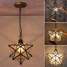 Moravian Star Glass Pendant Chandelier Light Modern Ceiling Fixture Lam