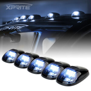 Xprite 5Pcs Smoke Lens Cab Rooftop Marker LED Lights Running White Fog Lights