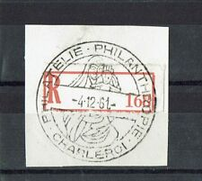 "Briefausschnitt Sonderstempel &Reco-Zettel Belgien ""Philatelie - Charleroi 1961"