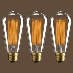 "3 Pack Edison Vintage Style Teardrop Bulbs 5"" bulb 60w E26 standard socket ST64"