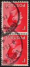 1936 Edward Viii 1d Scarlet Pair Inverted Watermark Sg458Wi Good Used