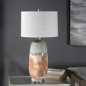 """NEW MAGGIE 30"""" EARTHY RUST TWO TONE CERAMIC TABLE LAMP UTTERMOST 26381"""