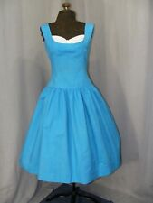 1950S SOC HOP DRESS VINTAGE 50S SUMMER FROCK VINTAGE CLOTHING ROCKABILLY BLUE  S