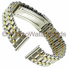 14mm Downing Ladies Two Tone Stainless Steel 22kt Gold Electroplate Watch Band