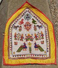 Toran Ancien Haut de Porte Gujarat Perle Miroir 60x70cm 1kg Artisanat Inde 2x3