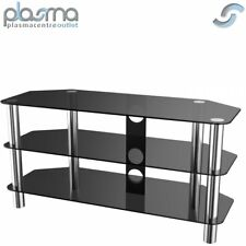"""Stealth Mounts 1000mm Black Glass and Chrome TV Stand for TVs up to 50"""""""