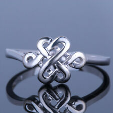 Chinese Knot Shape Vintage Antique Bands Jewelry Pave Setting Ring Silver 925