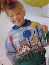kids knitting pattern  jumper with cats 4-10 years 8 ply