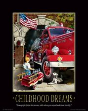 Firefighting Motivational Poster Art Fireman Equipment Badge Helmet Tools MVP98