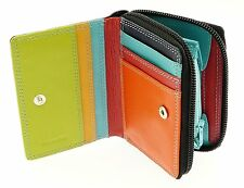 Ladies Real Leather Coin Purse Zip Round Wallet Folding Credit Card 6 Slots