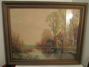 VTG B.A.P Corp Chicago 1939 Landscape Lithograph Period Frame Water Boat Cabin