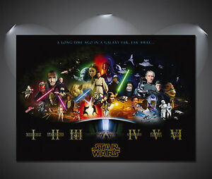Star Wars Cast Vintage Movie Poster - A0, A1, A2, A3, A4 Sizes