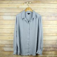 WHO WHAT WEAR Women's Long Sleeve Button Front Polyester Top XXL Blue Geometric
