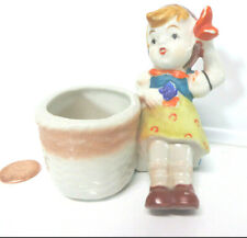 "Occupied Japan HUMMEL Style GIRL DUCK HAND VASE 3.5"" Figurine Horse Shoe Dress"