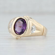 Vintage 1.52ctw Amethyst Diamond Ring 14k Yellow Gold Size 10.25