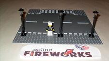 Lego Custom Street City Set of 3 Black Lamp Posts with Black tops trans light