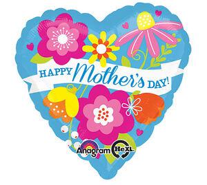 "Heart Shaped Happy Mother's Day 28"" Foil Mylar Balloon Light Blue Flower Large"