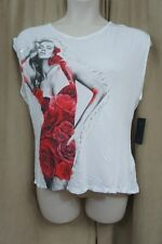 Guess Top Sz L True White Multi Hi Low Red Roses Girl Tee Twist Back Casual Top