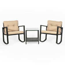 3PC Outdoor Rocker Rattan Wicker Furniture Table Chair Sofa Cushioned Patio