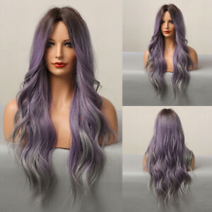 Womens 24'' Purple Long Curly Hair Wavy Wigs Party Cosplay Fashion Nature Wig J
