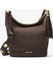 New Michael Kors Brooklyn Large Grommet Suede Feed Bag Suede Coffee Gold hobo