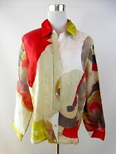 Womens Vtg 90s Linen Coloured Print Summer Casual Shirt Blouse Plus Size BF73