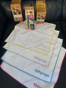 SPH2ONGE/SPHONGE SUEDE MICROFIBRES. NEW BOXED PRODUCT. GREY/PINK/BLUE/YELLOW.