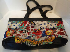Vintage Nicole Miller Silk Tote Memphis Blue Suede Shoes Music Themed