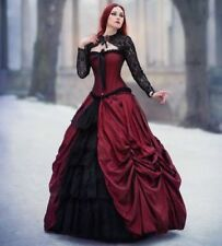 Red Vintage Gothic Victorian Ball Gown Prom Party Dress Bridal Dresses Christmas