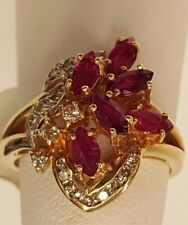 BRAND NEW SOLID 14K YELLOW GOLD 18 GENUINE DIAMONDS & 6 RED RUBIES TOTAL 2.26ct.
