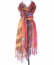 "RISING TIDE Long wrap SCARF artsy  10""x 80""  WAVEY MULTI  COLOR OM 68 YELLOW"
