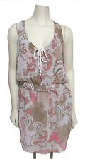 NWT Free People Paisley Lace-up Chiffon Dress M Georgette Ivory Combo Brown $128