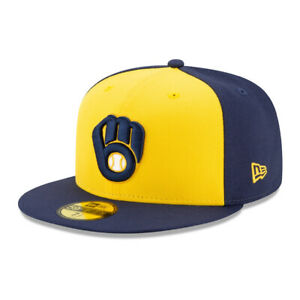 New Era 59Fifty Milwaukee Brewers ALT Fitted Hat (Navy/Yellow) Men's MLB Cap