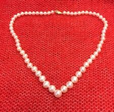 High Quality Glowing White Cultured Pearl Tapered Necklace with 14K Gold Clasp